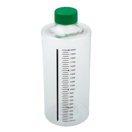2,000mL Roller Bottle, Non-treated Suspension Culture, Printed Graduations, Non-Vented Cap, Sterile