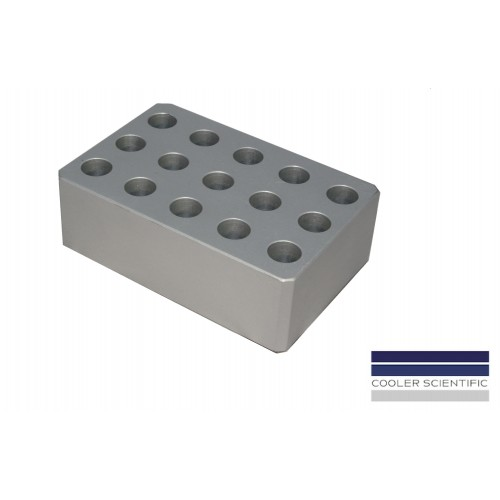 Cooler Block for 1.5/2.0ml Microcentrifuge Tubes, 15-Well, Silver, 1 ea.