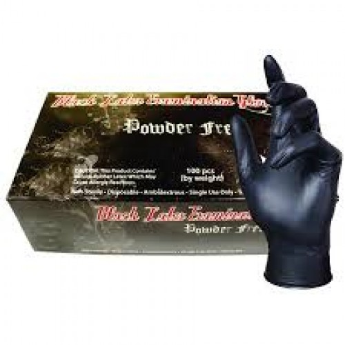Small SkinTX Black Latex Gloves, 100/box