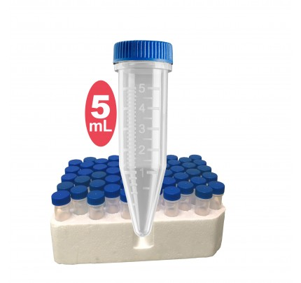 Five-O 5mL Centrifuge Tube, sterile, w/ attached screw caps in foam racks