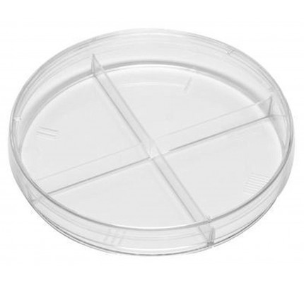 Kord-Valmark 2913 Stackable Petri Dish With Four Compartments, Sterile, Disposable, Quad-Plate Style, Nominal Size: 100 x 15mm