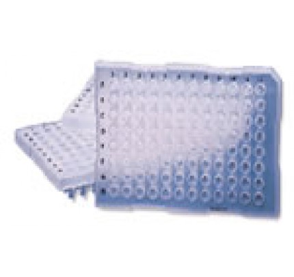 96 Well Semi-Skirted Plates, Natural, Non-Sterile, 25 Plates/Pack, 4 Packs/Case