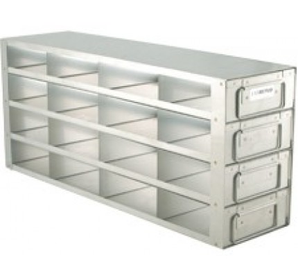 "Upright Metal Freezer Rack for 2"" Boxes, Drawer Style, 16 Box Capacity, 1 ea"